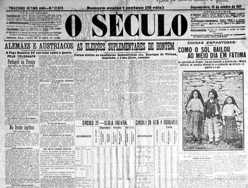 El misterio de Fátima. O-seculo-fatima-1917-oct