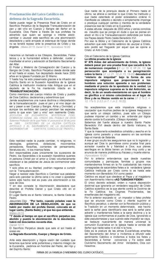 Proclamación del Laico Católico en defensa de la Sagrada Eucaristía